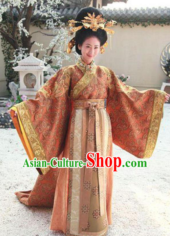 Chinese Ancient Tang Dynasty Empress Zhangsun of Li Shimin Hanfu Dress Historical Costume and Headpiece Complete Set for Women
