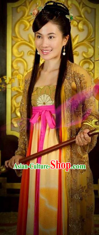 Chinese Ancient Tang Dynasty Courtesan Entertainer Dance Dress Historical Costume for Women