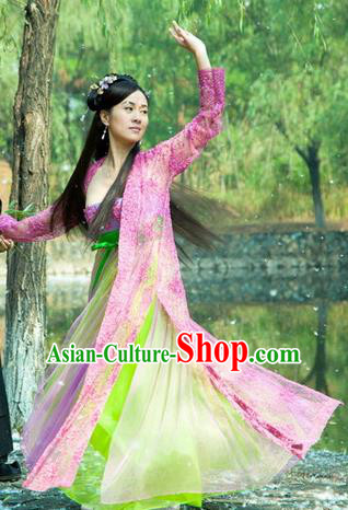 Chinese Ancient Tang Dynasty Dance Pink Dress Courtesan Historical Costume for Women