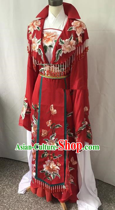 Top Grade Chinese Beijing Opera Actress Red Dress China Peking Opera Diva Embroidered Costume