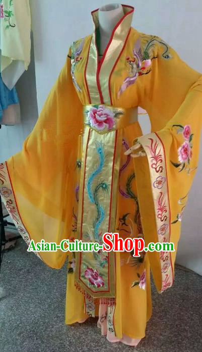 Top Grade Chinese Beijing Opera Diva Yellow Dress China Peking Opera Empress Embroidered Costume