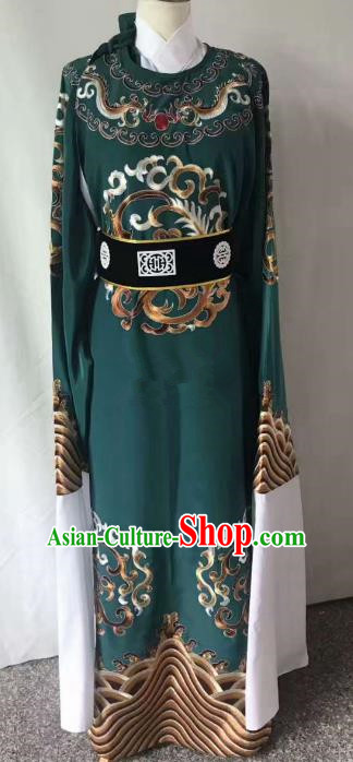 Chinese Beijing Opera Scholar Costume Peking Opera Niche Green Embroidery Robe for Adults