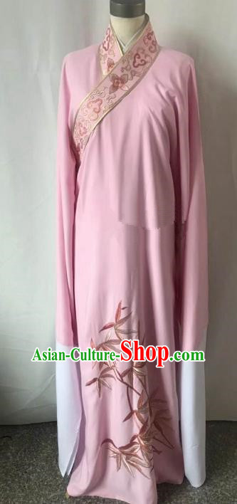 Chinese Beijing Opera Scholar Costume Peking Opera Niche Pink Embroidery Leaf Robe for Adults
