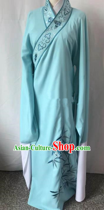Chinese Beijing Opera Scholar Costume Peking Opera Niche Blue Embroidery Leaf Robe for Adults