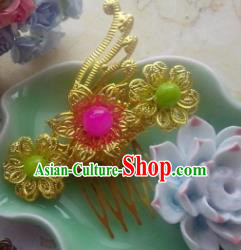 Chinese Ancient Hair Accessories Hanfu Hairpins Butterfly Golden Hair Comb for Women