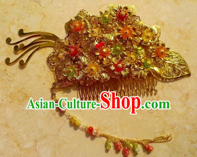 Chinese Ancient Hair Accessories Hairpins Hanfu Golden Flowers Hair Stick for Women
