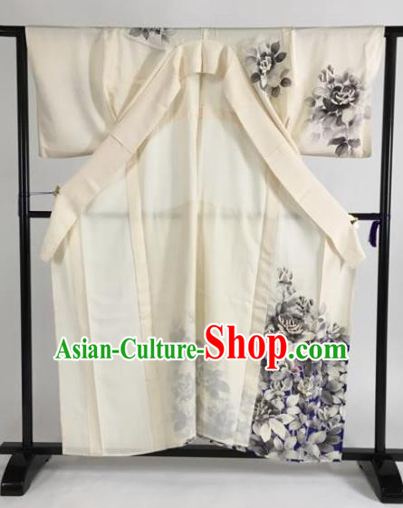 Japan Traditional Kimonos Ink Painting Furisode Kimono Ancient Yukata Dress Formal Costume for Women