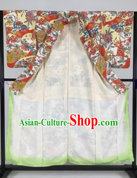 Japan Traditional Kimonos Palace Princess Furisode Kimono Ancient Geisha Yukata Dress Formal Costume for Women