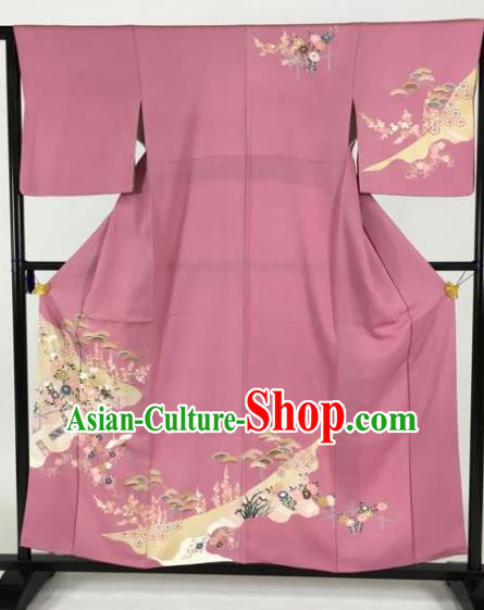 Japan Traditional Kimonos Geisha Furisode Kimono Ancient Yukata Dress Formal Costume for Women