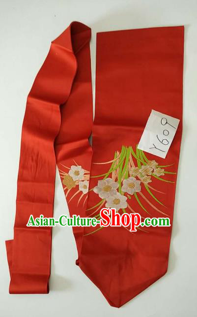Japanese Traditional Brocade Waistband Kimono Yukata Embroidered Red Belts for Women