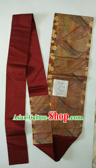 Japanese Traditional Brocade Waistband Kimono Yukata Embroidered Purplish Red Belts for Women