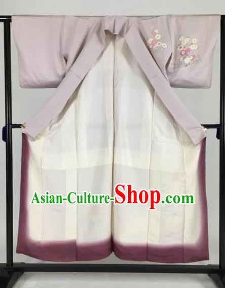 Japan Traditional Kimonos Palace Lilac Furisode Kimono Ancient Geisha Yukata Dress Formal Costume for Women