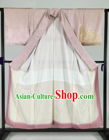 Japan Traditional Pink Silk Kimonos Furisode Kimono Ancient Yukata Dress Formal Costume for Women