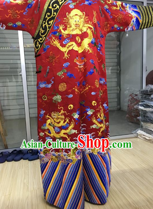 China Traditional Qing Dynasty Manchu Empress Embroidered Dress Costume for Women