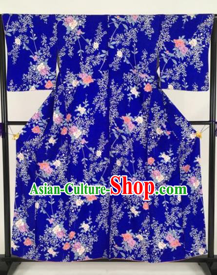 Japan Traditional Kimonos Printing Flowers Blue Furisode Kimono Ancient Yukata Dress Formal Costume for Women