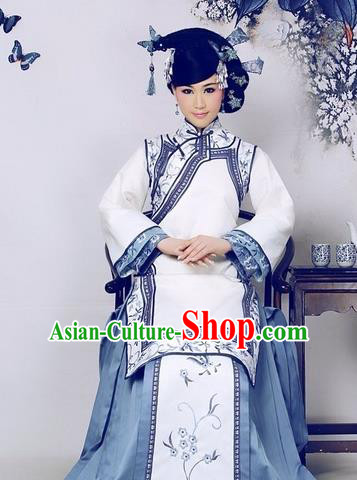 Chinese Ancient Qing Dynasty Imperial Concubine Embroidered Costume Manchu Palace Lady Dress for Women