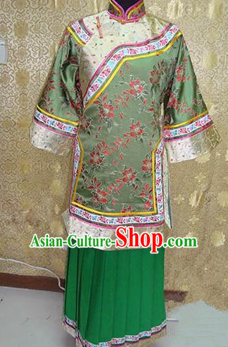 Chinese Ancient Manchu Lady Embroidered Costume Qing Dynasty Young Mistress Xiuhe Suit for Women