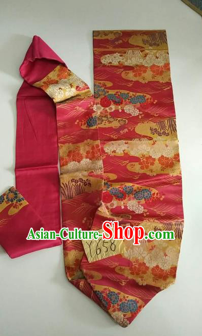 Japanese Traditional Embroidered Brocade Waistband Kimono Yukata Dress Pink Belts for Women