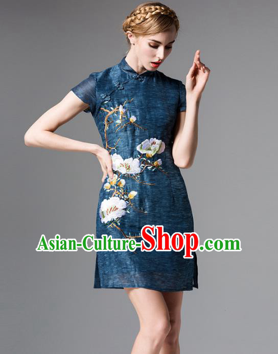 Chinese National Costume Embroidered Peacock Blue Qipao Dress Stand Collar Cheongsam for Women