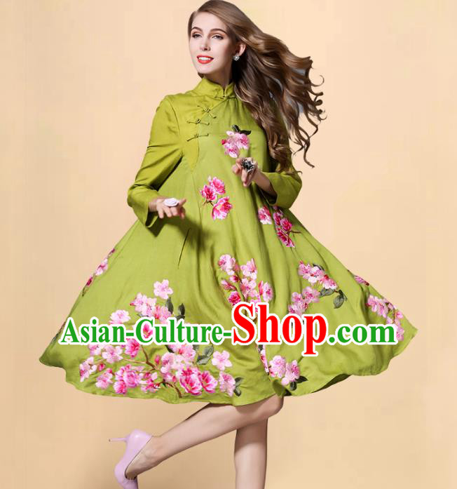 Chinese National Costume Embroidered Peach Blossom Green Qipao Dress Stand Collar Cheongsam for Women