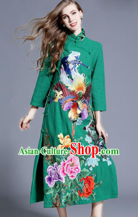 Chinese National Costume Stand Collar Green Cheongsam Embroidered Peony Qipao Dress for Women
