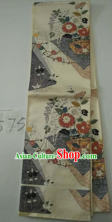 Japanese Traditional Wafuku Waistband Kimono Yukata Embroidered Brocade Belts for Women