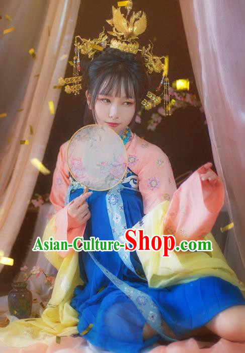 Ancient Chinese Tang Dynasty Royal Princess Costume Embroidered Hanfu Dress for Women