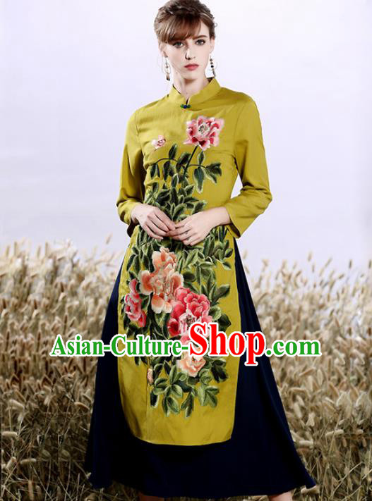 Chinese National Costume Embroidered Peony Cheongsam Green Qipao Dress for Women