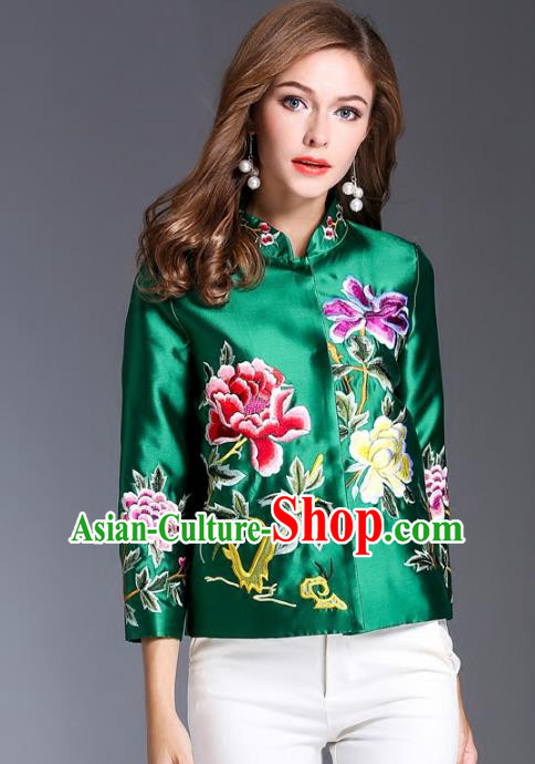 Chinese National Costume Traditional Embroidered Peony Blouse Green Shirts for Women