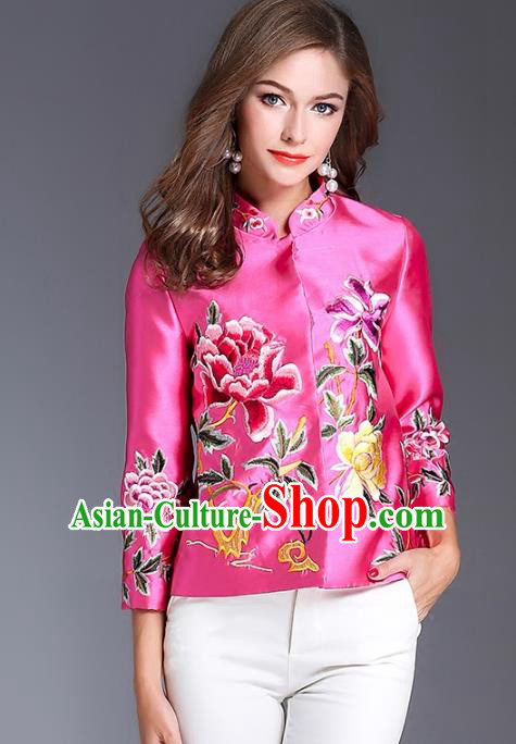 Chinese National Costume Traditional Embroidered Peony Blouse Pink Shirts for Women