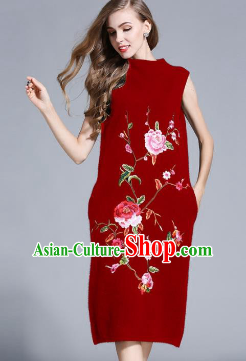 Chinese National Costume Cheongsam Embroidered Peony Red Dress Tang Suit Qipao for Women
