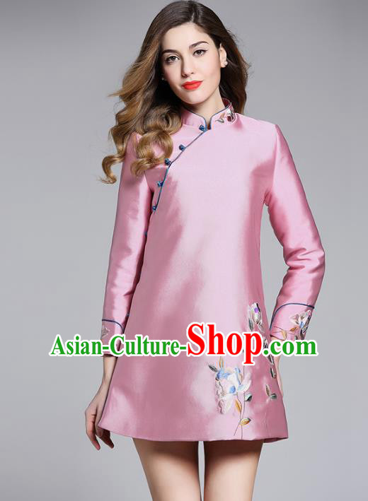Chinese National Costume Cheongsam Embroidered Pink Dress Tang Suit Qipao for Women