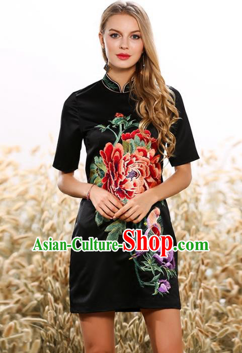 Chinese National Costume Cheongsam Embroidered Peony Black Dress Tang Suit Qipao for Women