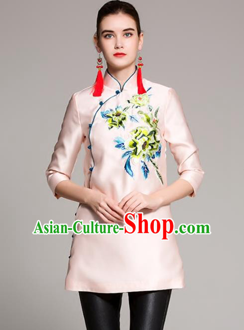 Chinese National Costume Tang Suit Shirts Traditional Embroidered Pink Blouse for Women