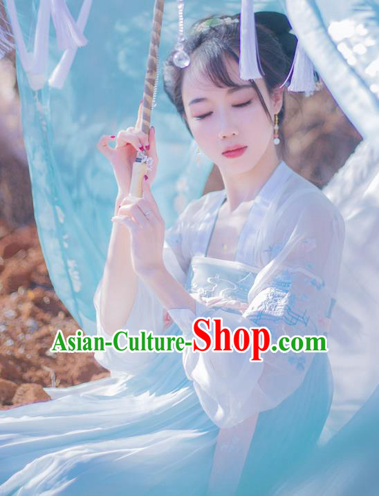 Chinese Ancient Tang Dynasty Royal Princess Embroidered Hanfu Dress Costume for Women