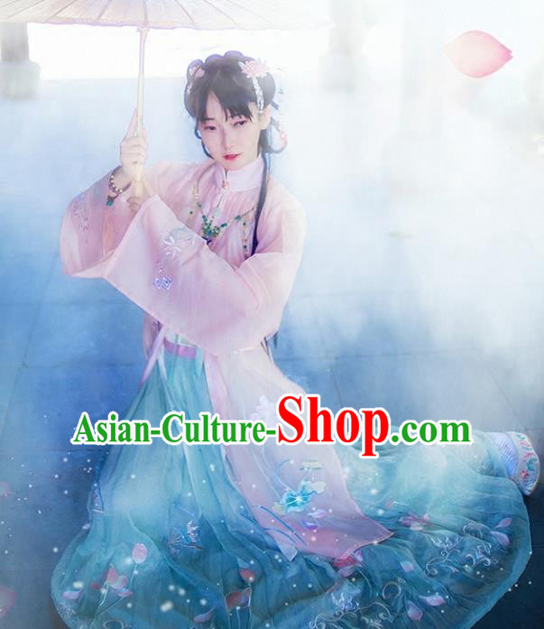 Chinese Ancient Ming Dynasty Palace Princess Embroidered Hanfu Dress Costume Complete Set for Women