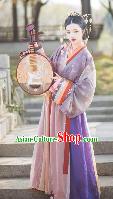 Chinese Ancient Fairy Jin Dynasty Palace Princess Embroidered Hanfu Dress Costumes for Women