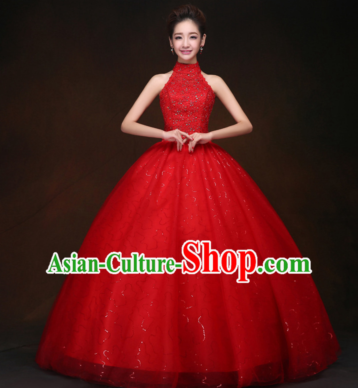 Top Classical Red Romantic Princess Wedding Dress Evening Dresses