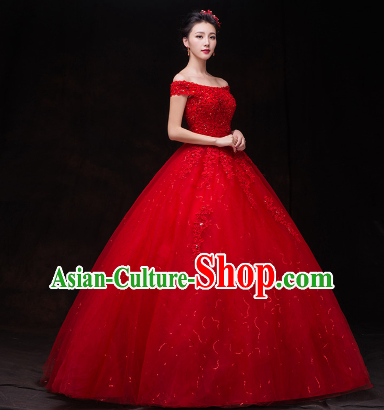 Top Classical Lucky Red Romantic Princess Wedding Dress Evening Dresses