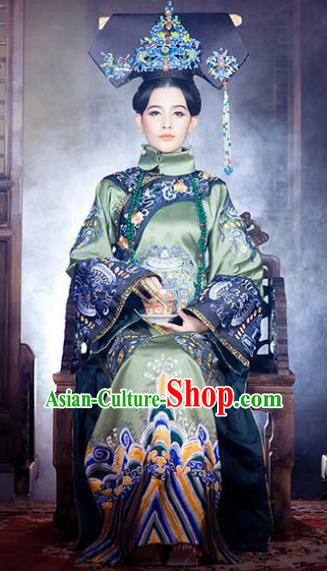 Chinese Ancient Empress Dowager Xiaozhuang Historical Costume China Qing Dynasty Manchu Lady Clothing