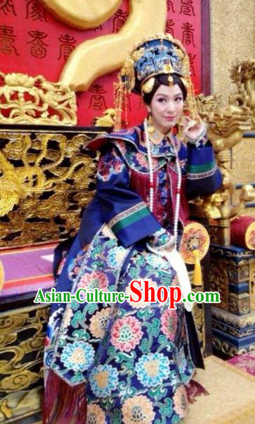 Chinese Ancient Yongzheng Empress Dowager Historical Replica Costume China Qing Dynasty Manchu Lady Clothing
