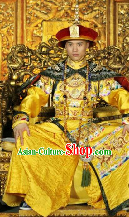 Chinese Ancient Shunzhi Emperor Historical Costume China Qing Dynasty Kaiser Embroidered Clothing