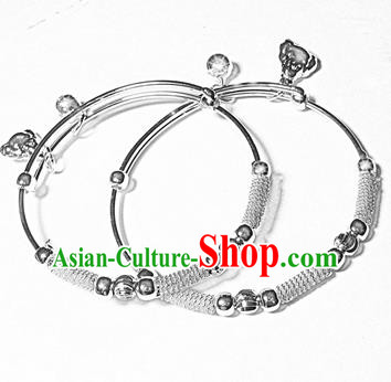 Traditional Chinese Miao Nationality Bracelet Hmong Accessories Sliver Bangle for Women