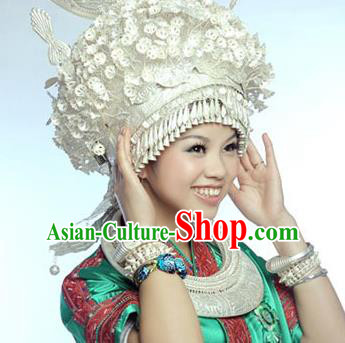 Traditional Chinese Miao Nationality Phoenix Coronet Hair Accessories Sliver Crown Headwear for Women