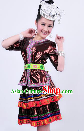 Traditional Chinese Miao Nationality Dance Costume Hmong Female Folk Dance Dress for Women