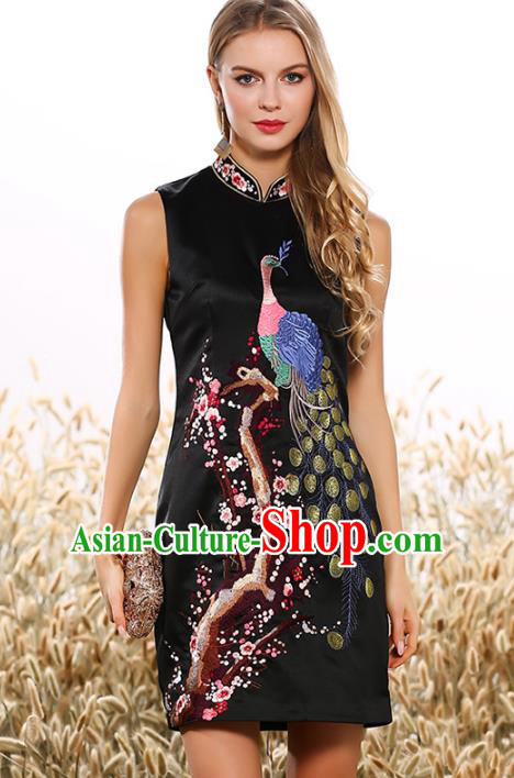 Chinese National Costume Tang Suit Black Qipao Dress Traditional Embroidered Peacock Cheongsam for Women