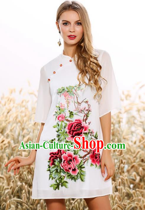 Chinese National Costume Tang Suit White Qipao Dress Traditional Embroidered Peony Cheongsam for Women
