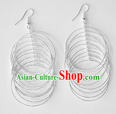 Traditional Chinese Miao Nationality Earrings Rings Hmong Accessories Sliver Eardrop for Women