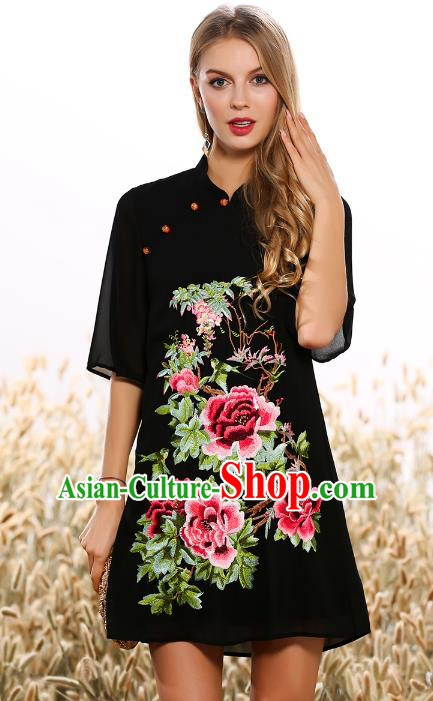 Chinese National Costume Tang Suit Black Qipao Dress Traditional Embroidered Peony Cheongsam for Women