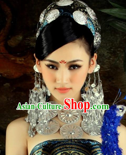 Traditional Chinese Miao Nationality Accessories Earrings Hmong Sliver Eardrop for Women